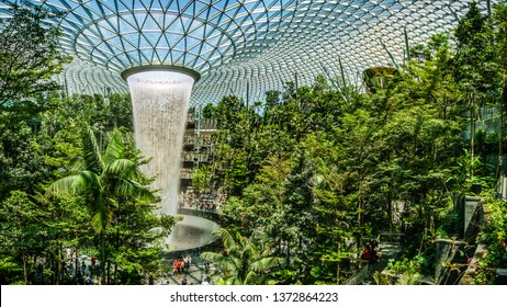 Singapore - Apr 16,  2019: Jewel Changi Airport is a mixed-use development at Changi Airport in Singapore, opened in April 2019.