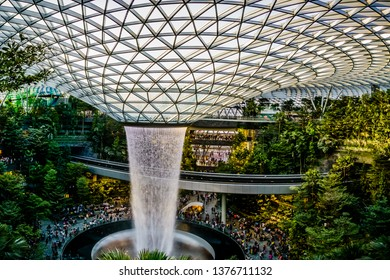 Singapore - Apr 16, 2019: Jewel Changi Airport is a mixed-use development at Changi Airport in Singapore that opened on 17 April 2019.