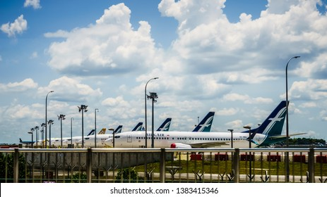 Singapore - Apr 16, 2019 : Silk Air  Boeing 737-8MAX aircraftes sighted parking in Changi Airport Singapore.