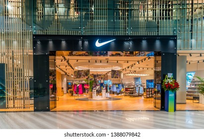 Singapore / Singapore - Apr 17 2019 : Nike Store Front at Jewel Changi Airport. Largest Nike Shop in South East Asia. Flagship SE Asia Nike.