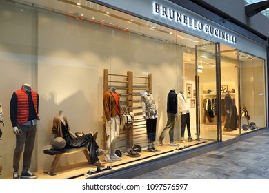 SINGAPORE - APR 21, 2018: Brunello Cucinelli store in Marina Bay Sands Mall.  It is an Italian luxury fashion rand which sells menswear, women's wear.