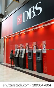 SINGAPORE - APR 21, 2018 : DBS Bank ATMs in Marina Bay Sands mall Singapore. DBS is a multinational banking and financial services corporation headquartered Singapore.