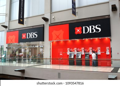 SINGAPORE - APR 21, 2018 : DBS Bank in Marina Bay Sands mall Singapore. DBS is a multinational banking and financial services corporation headquartered Singapore.