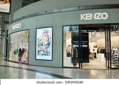 SINGAPORE - APR 21, 2018: Exterior view of Kenzo Store in Marina Bay Sands Shopping mall, Singapore. Kenzo is a French luxury house founded in 1970 by Japanese designer Kenzo Takada.