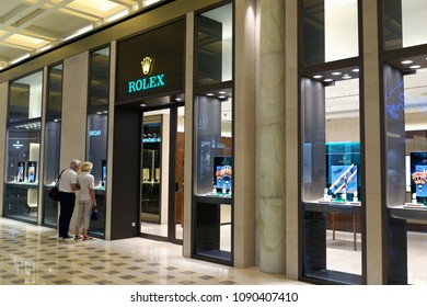 SINGAPORE - APR 21, 2018 : Rolex store at Marina Bay Sands Singapore. Rolex SA is a Swiss luxury watchmaker. It is the largest single luxury watch brand, producing about 2,000 watches per day.