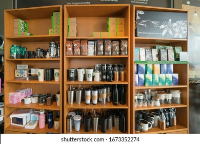 SINGAPORE - APR 21 : Starbucks's products on the shelf in Starbucks Coffee Shop at Sentosa on Apr 21, 2018 in Singapore.