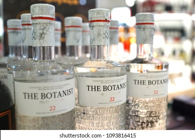 SINGAPORE - APR 22, 2018: The Botanist brand gin on store shelf in Changi Airport New Terminal 4. Gin is a spirit which derives its predominant flavour from juniper berries.