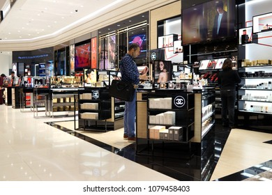 SINGAPORE - APR 22, 2018: Chanel cosmetics store in Changi Airport Terminal 4. Cosmetics are the most accessible Chanel product, with counters in upmarket department stores across the world.