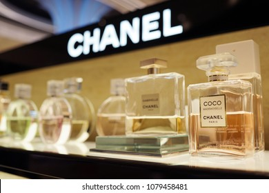 SINGAPORE - APR 22, 2018: Chanel brand perfume store in Changi Airport Terminal 4. Cosmetics are the most accessible Chanel product, with counters in upmarket department stores across the world.