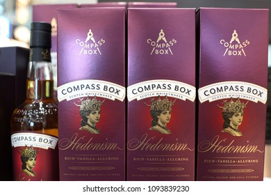 SINGAPORE - APR 22, 2018: Compass Box Scotch whiskey on store shelf in Changi Airport. Compass Box is a producer, bottler and marketer of a range of blended Scotch whiskies.