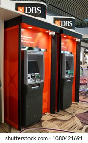 SINGAPORE - APR 22, 2018: DBS bank ATMs at Changi International airport terminal 4. DBS is a multinational banking and financial services corporation headquartered in Marina Bay, Singapore