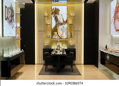 SINGAPORE - APR 22, 2018: Dior brand cosmetics store in Marina Bay Sands Singapore. Cosmetics are the most accessible Dior product, with counters in upmarket department stores across the world.