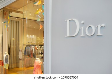SINGAPORE - APR 22, 2018: Dior store of children clothing at Marina Bay Sands, Dior designs and retails ready-to-wear, leather goods, fashion accessories, footwear, jewellery and skincare products.