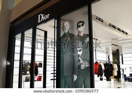 4b39ea147785 SINGAPORE APR 22 2018 Dior Fashion Stock Photo (Edit Now) 1090386977 ...