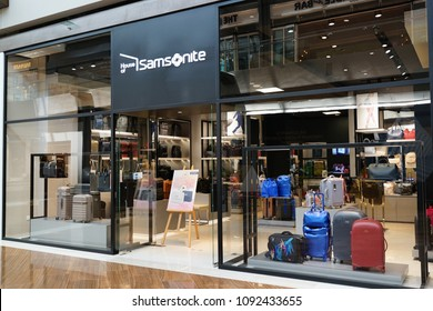 SINGAPORE - APR 22, 2018: Exterior view of Samsonite store in Marina Bay Sands Mall, Singapore. Samsonite is an American luggage manufacturer and retailer founded in Denver.