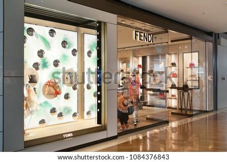dd7719af4c2b SINGAPORE APR 22 2018 Fendi Store Stock Photo (Edit Now) 1084376843 ...