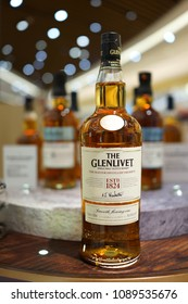 SINGAPORE - APR 22, 2018: The Glenlivet Single Malt Scotch Whisky on store shelf in Changi Airport new Terminal 4. The Glenlivet brand is the biggest selling single malt whisky in the United States.