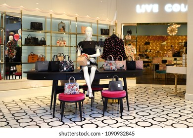 SINGAPORE - APR 22, 2018: Interior view of the Kate Spade store in Marina Bay Sands shopping mall. Kate Spade is an American fashion design house founded in 1993.