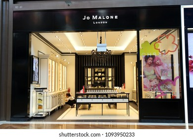 SINGAPORE - APR 22, 2018: Jo Malone London store in Marina Bay Sands Shopping mall, Singapore. Joanne Lesley Malone MBE is a British perfumer, the founder of Jo Malone London and Jo Loves.