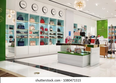 SINGAPORE - APR 22, 2018: Kate Spade fashion store interior in Changi Airport Terminal 4, Singapore. Kate Spade is an American fashion design house founded in 1993.