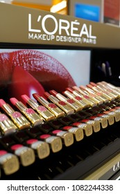 SINGAPORE - APR 22, 2018: Loreal cosmetic products sit on display for sale in Changi Airport new terminal 4, Singapore. It is world's largest cosmetics company in France.