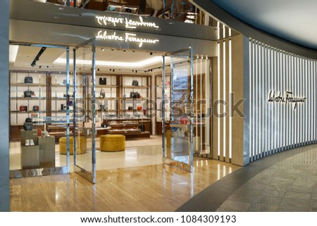 63946b81bed SINGAPORE - APR 22, 2018  Salvatore Ferragamo exclusive store in Marina Bay  Sands,