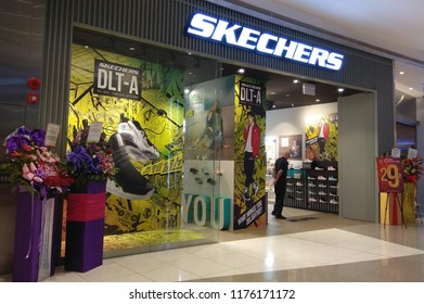 SINGAPORE - APR 22, 2018: Skechers sport wear retail store in Singapore shopping mall. It is an American lifestyle and performance footwear company.