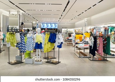 SINGAPORE - APR 22, 2018: ZARA kids fashion store in Marina Bay Sands Shopping Mall Singapore. Zara is a Galician fast fashion clothing and accessories retailer based in Spain.