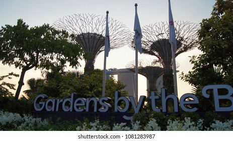 SINGAPORE - APR 3rd 2015: The Supertree at Gardens by the Bay and luxury hotel Marina Bay Sands in the background during sunset