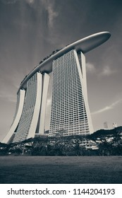 SINGAPORE - APR 5: Marina Bay Sands hotel closeup on April 5, 2014 in Singapore. It is the world's most expensive building with cost of US$ 4.7 billion and landmark of Singapore.