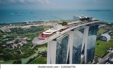 Singapore Aprial4th, 2018: Aerial view of Singapore business district and the landmark marina bay sands hotel