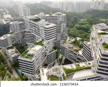 Singapore - April 04 2018:  The Interlace, a radically new approach to contemporary living in tropical environment. The stacked formations is unique and has won global acclaim.