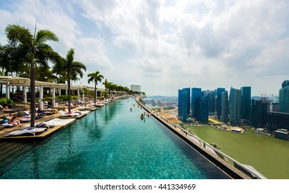 SINGAPORE - APRIL 07: Swimming pool on roof top with beautiful city view Singapore at 7 of April, 2014