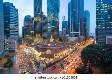 Singapore, Singapore - April 09, 2016: The Lau Pa Sat festival market (Telok Ayer) is a historic Victorian cast-iron market building now used as a popular food court hawker center in Singapore.