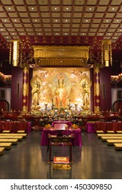 singapore - April 10th, 2016: interior of the Buddha Tooth Relic Temple, Singapore.