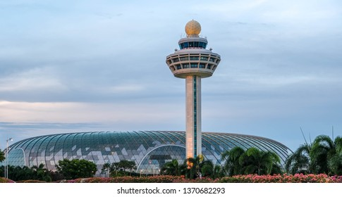 Singapore, April 13, 2019- Evening scene of Jewel Changi Airport