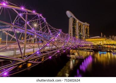 SINGAPORE - April 13: Singapore city skyline at business district, Marina Bay, Singapore on April 13, 2014 in Singapore.