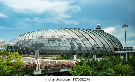 Singapore, April 14, 2019- Singapore's new Jewel Changi Airport, It has a 40m waterfall inside the building.