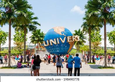 SINGAPORE - April 14: UNIVERSAL STUDIOS SINGAPORE sign on April 14,2014. Universal Studios Singapore is a theme park located within Resorts World Sentosa on Sentosa Island, Singapore.