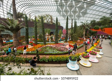 SINGAPORE - APRIL 18 2018: Visitors enjoy the colorful tulips at the Tulipmania Flora Display, Flower Dome of Garden By The Bay.