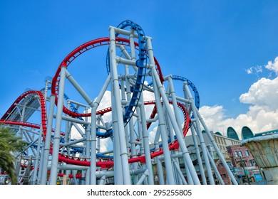 SINGAPORE - APRIL 18: Roller coaster in Universal Studios Singapore at Singapore Resorts World Sentosa on April 18, 2015.