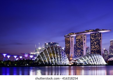 SINGAPORE - APRIL 19th, 2016: Singapore at dusk. The Republic of Singapore is the world's only island city-state at the southern end of the Malay peninsula in Asia.