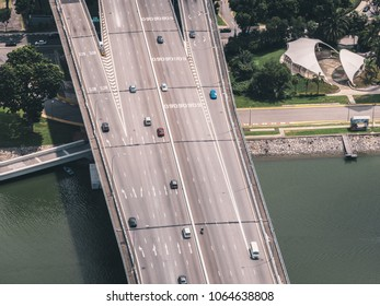 Singapore - April 2, 2018: Aerial view from Marina Bay Sands on traffic on highway bridge