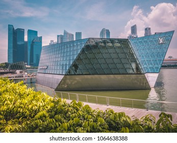 Singapore - April 2, 2018: Louis Vuitton boutique store building in Singapore
