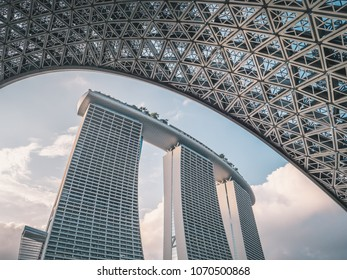 Singapore - April 2, 2018: Marina Bay Sands. World famous hotel and casino in Asia.