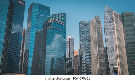 Singapore - April 2, 2018: Modern architecture of Singapore. Skyscrapers buildings in the center of city.