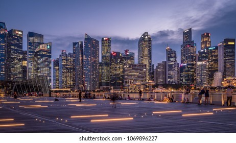 Singapore - April 2, 2018: Night Singapore cityscape. Modern office skyscrapers.
