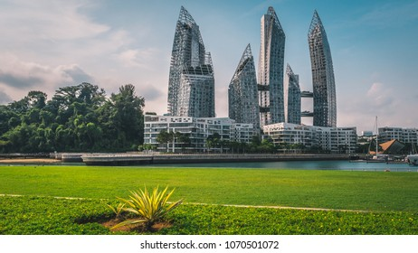 Singapore - April 2, 2018: Reflections at keppel bay. Futuristic Asian Architecture in Singapore.