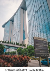 Singapore - April 2, 2018: World famous Marina Bay Sands Hotell and Casino.