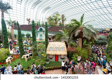 Singapore, Singapore - April 20, 2019: People visiting Flower Dome and Cloud Forest